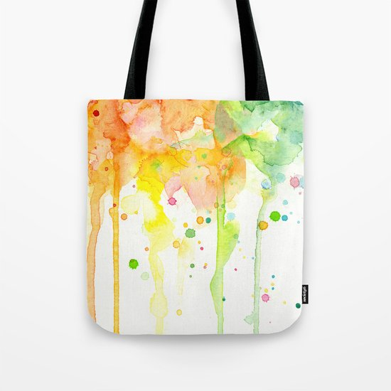 Rainbow Watercolor Pattern Texture Tote Bag