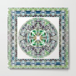 Moss Green and Deep Teal Enchanted Mandala Metal Print