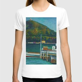 Jetty on Lake Iseo, Lombardy, Italy landsapce painting by Piero Marussig T-shirt