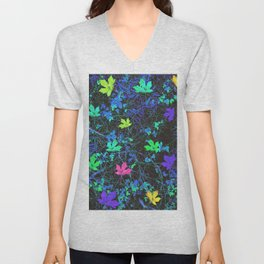 maple leaf in pink green purple blue yellow with blue creepers plants background Unisex V-Neck