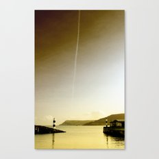 Plane trails in the sunset Canvas Print