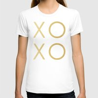 gold glitter T-shirts featuring Gold Glitter XOXO by Fancy Designs