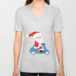 Santa Claus coming to you on his Scooter Unisex V-Neck