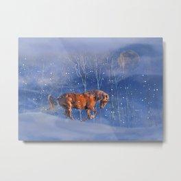 Christmas Horse in the Snow, Running Winter Horses Scene Metal Print