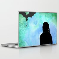 mother of dragons Laptop & iPad Skins featuring Mother of Dragons Silhouette over Green + Blue by Jessica Barst
