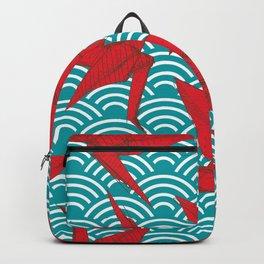 Origami red paper cranes sketch. burgundy maroon line Nature oriental Backpack