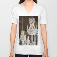 chandelier V-neck T-shirts featuring Versailles Chandelier by Scott Board