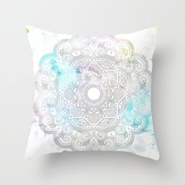 abstract gray and turquoise mandala design in minimal style Throw Pillow