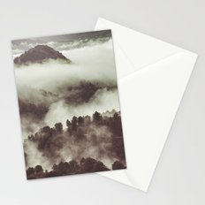 Foggy morning at the mountains. Retro forest Stationery Cards