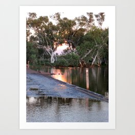 Shaw River Flooded Sunset Art Print