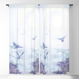 Moonlit Crows Blackout Curtain