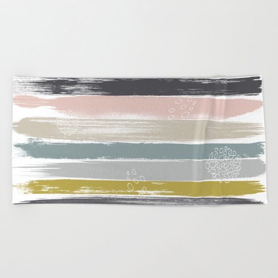 Fragments, Brushstrokes and Circles Beach Towel