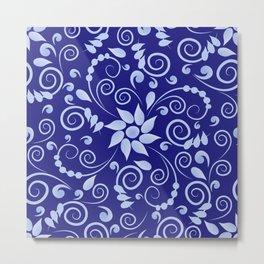 Blue floral print in Russian folk style Metal Print