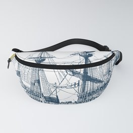 Blue vintage nautical wind sailing boat Fanny Pack