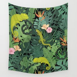Chameleons And Salamanders In The Jungle Pattern Wall Tapestry