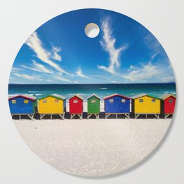 The Colorful Houses on the Beach photograph Cutting Board