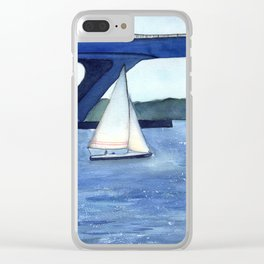 """Off to a journey"" Sailboat Watercolor Painting Clear iPhone Case"