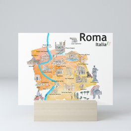 Rome Italy Illustrated Travel Poster Favorite Map Tourist Highlights Mini Art Print