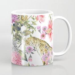 Leopards in flowery garden Coffee Mug