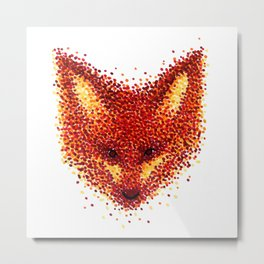 Pointilism Fox Face Metal Print