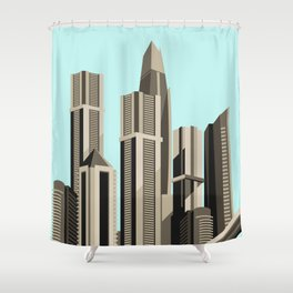 Modern City Blue Sky Shower Curtain