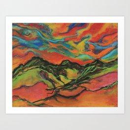 Electric Mountains Art Print