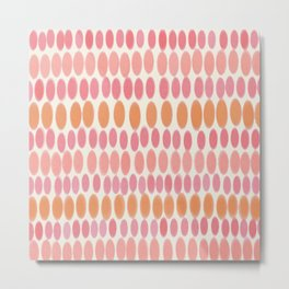 Pastel Easter Coral Pink Oval Egg Pattern Metal Print