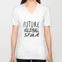 volleyball V-neck T-shirts featuring Future Volleyball Star by raineon