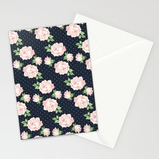 Blue and Pink Vintage Rose Pattern Stationery Cards