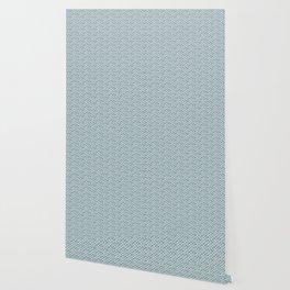 Fish Scales Geometric Pattern in Blue Green Wallpaper