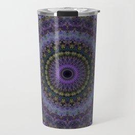 Floral mandala in violet and purple tones Travel Mug