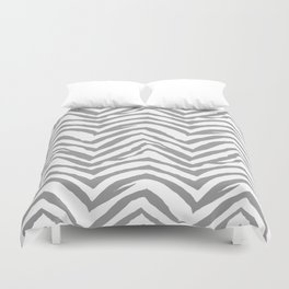 Chevron stripes zebra pattern minimal grey and white basic pattern nursery home decor Duvet Cover