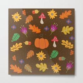 Autumn Fall Leaves Flower Pattern Metal Print