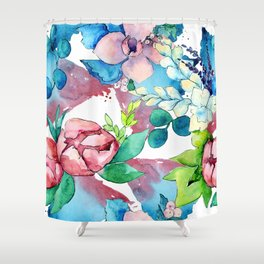 Floral Bouquet in Pastel Pinks and Blues Shower Curtain