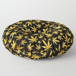 Black Gold Weed Pattern Floor Pillow
