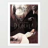 dracula Art Prints featuring Dracula by Anne Lambelet