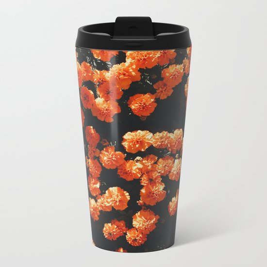 Orange Flowers Everywhere Metal Travel Mug