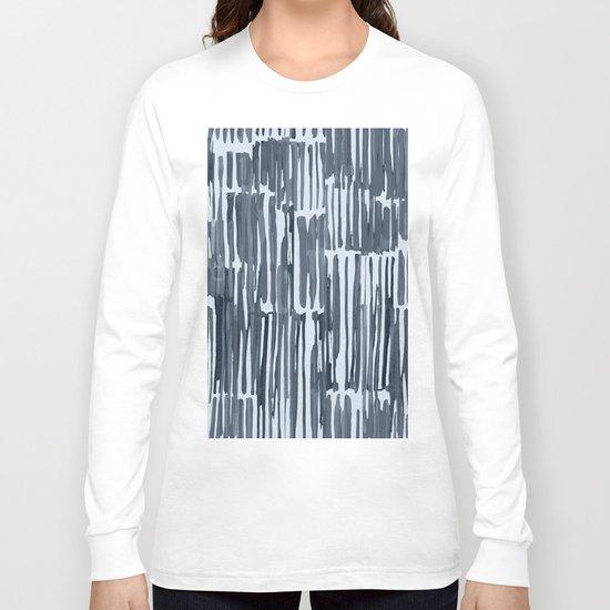 Simply Bamboo Brushstroke Indigo Blue on Sky Blue Long Sleeve T-shirt