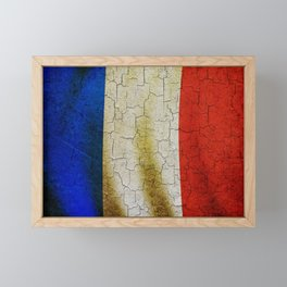 Cracked France flag Framed Mini Art Print
