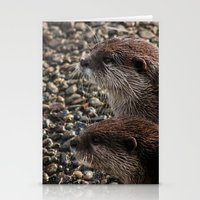otters Stationery Cards featuring Pair of Otters by Eleven Collective