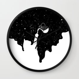 Space Paint Milky Way Cat Wall Clock