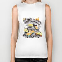 newspaper Biker Tanks featuring Newspaper Taxis by Jemma Banks