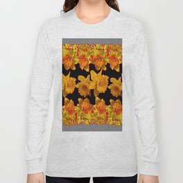 GOLDEN DAFFODILS GARDEN IN GREY-BLACK ART DESIGN Long Sleeve T-shirt