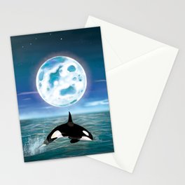 Orca swimming by the moonlight  Stationery Cards