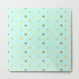 Gold foil glitter polka dots on teal Metal Print