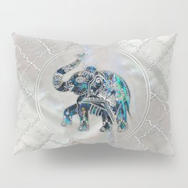 Silver Framed Elephant on Abalone and Pearl Pillow Sham