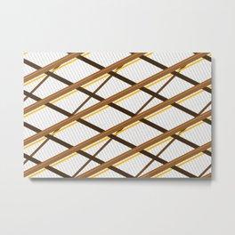 Deco Stripes Brown Metal Print