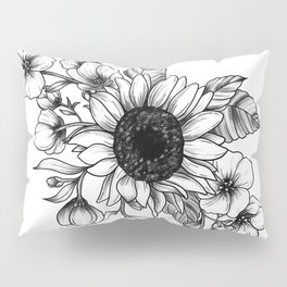 Bouquet of Flowers with Sunflower / Fall floral lineart Pillow Sham