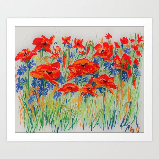 poppies and corn-flowers Art Print