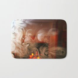 Painting with Smoke - Sideways Scream and the smiling face Bath Mat